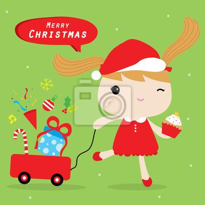 Frohe Weihnachten Liebe.Fototapete Madchen Liebe Frohe Weihnachten Niedliche Cartoon Vektor