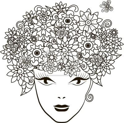 Fototapete Mädchen Mit Blumen Haar Malvorlage Anti Stress Vektor Illustration