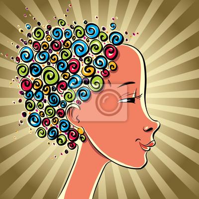 Fototapete Mädchen mit Farbe Haar Locken, Vektor-Cartoon.
