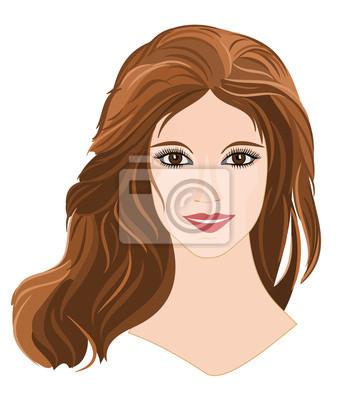 Mädchen mit langen braunen Haaren mit braunen Augen Porträt