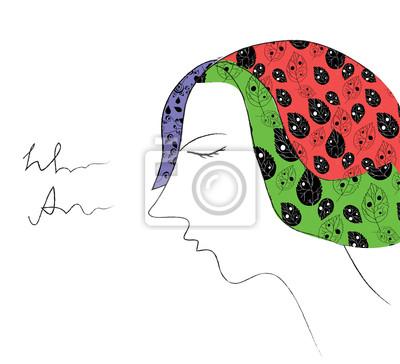 Mädchen Mode-Karte mit Kopf-und Muster Illustration