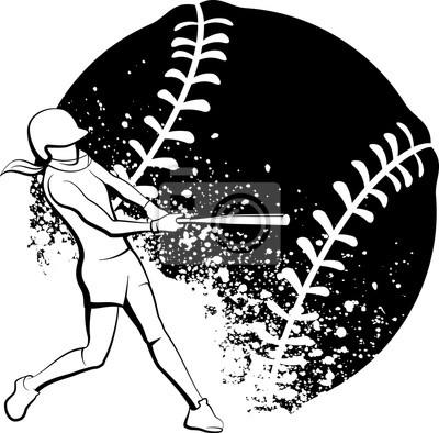 Mädchen-Softball-Teig mit stilisiertem Splatter-Ball hinten