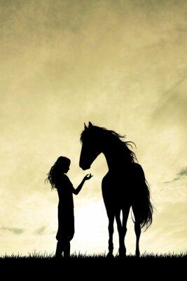 Fototapete Mädchen und Pferd Silhouette