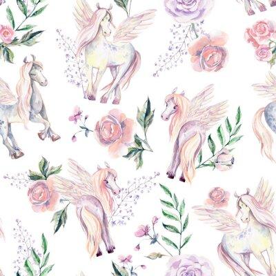 Fototapete Magic Pegasuses in seamless pattern. Watercolor illustration, be