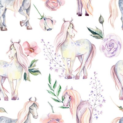 Fototapete Magic Pony seamless pattern. Watercolor illustration, beautiful