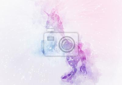 Fototapete magische Aquarellmalerei des Einhorns