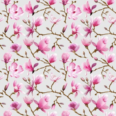 Fototapete Magnolia Blumen-Hintergrund - Vintage Seamless Pattern