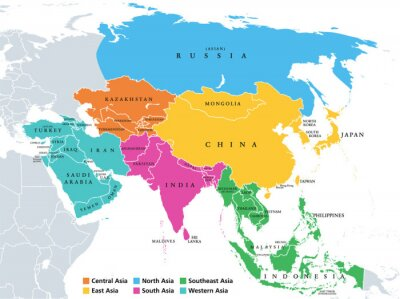 Fototapete Main regions of Asia. Political map with single countries. Colored subregions of the Asian continent. Central, East, North, South, Southeast and Western Asia. English labeled. Illustration. Vector.