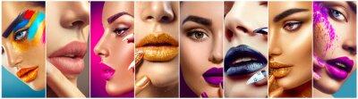 Fototapete Make-up-Collage Schönheit Make-up Künstler Ideen. Bunte Lippen, Augen, Lidschatten und Nail Art