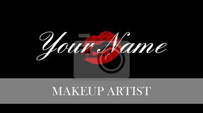 Make-up-künstler-visitenkarte. visitenkarten vorlage mit roten ...