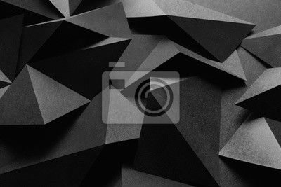 Fototapete Makrobild der schwarzen geometrischen Formen, 3D-Illustration, abstrakter Hintergrund