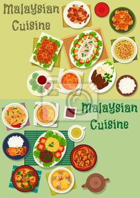 Gesunde Küche | Malaysische Kuche Icon Set Fur Gesunde Ernahrung Design Fototapete