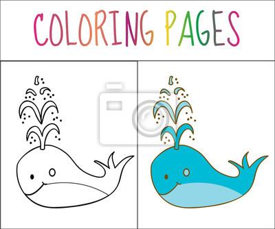 Malbuch buchseite, wal. skizze und farbversion. färben für kinder ...