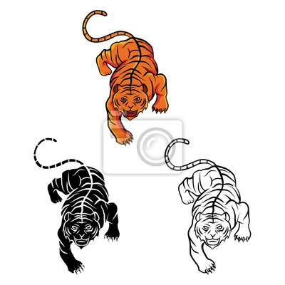 Malbuch tiger cartoon-figur fototapete • fototapeten Färben, tribal ...