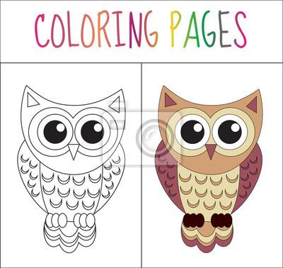 Malbuchbuchseite. eule. skizze und farbversion. färben für kinder ...