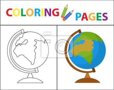 Malbuchbuchseite. globus. skizze umriss und farbversion. färbung ...