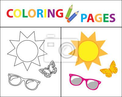 Malbuchbuchseite. sommer-set, gläser, sonne, schmetterling. skizze ...