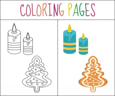 Malbuchbuchseite. weihnachten lebkuchen und kerzen. skizze und ...