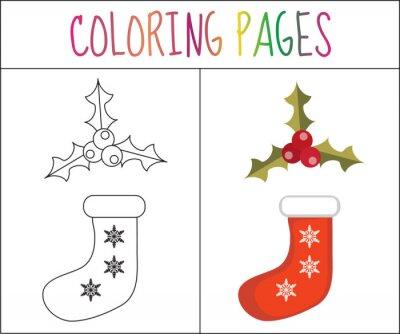 Malbuchbuchseite. weihnachten socke und stechpalme. skizze und ...