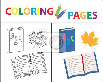 Malbuchbuchseite. zurück zur schule, buch, grundierung. skizze ...