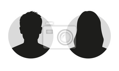 Fototapete Male and female face silhouette or icon. Man and woman avatar profile. Unknown or anonymous person. Vector illustration.