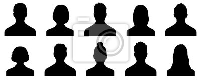 Fototapete Male and female head silhouettes avatar, profile icons. Vector