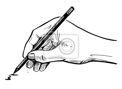 Fototapete male hand draws a sketch on the pencil