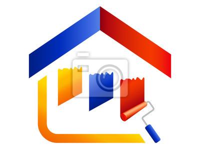 Malerbetrieb Logo Haus Farben Und Farbstreifen Fototapete