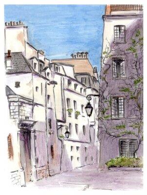 Fototapete Malerei der Straße der europäischen Stadt Paris