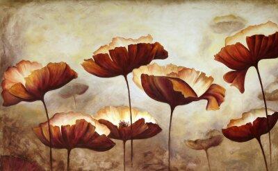 Fototapete Malerei Mohnblumen Leinwand