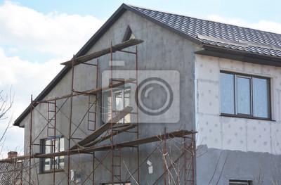 Fototapete Malerei, Putz, Stuck Und Isolierung Außen Haus Wand. Fassade  Wärmedämmung Und Malerei