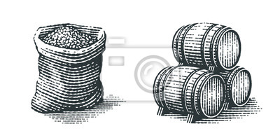 Fototapete Malt in burlap bag and wood barrels. Hand drawn engraving style illustrations.