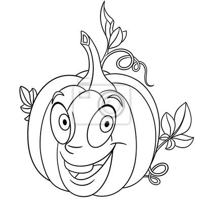 Malvorlage. cartoon kürbis. happy gemüse charakter. öko-lebensmittel ...