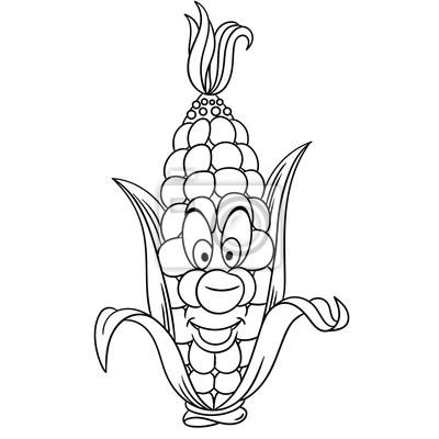 Malvorlage. cartoon mais. happy gemüse charakter. öko-lebensmittel ...