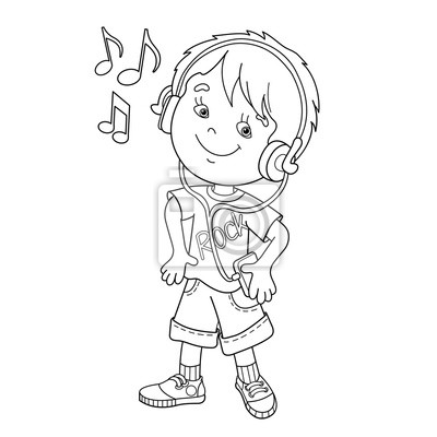 Malvorlage der junge in kopfhörer musik hören fototapete ...