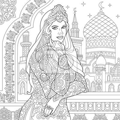 Malvorlage der türkischen frau islamisches filigranes dekor ...