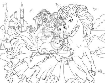 Fototapete Malvorlage Einhorn Und Prinzessin