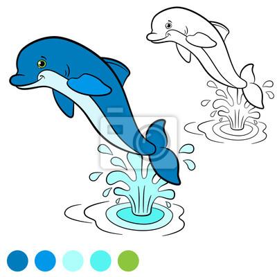 Malvorlage. farbe: delphin. little cute delfin springt aus dem ...