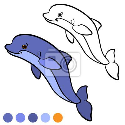 Malvorlage. farbe: delphin. little cute delfin springt und lächelt ...