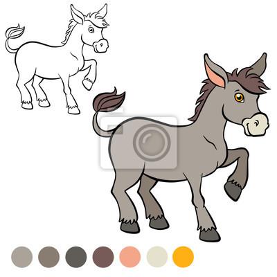 Malvorlage Farbe Ich Esel Kleine Süße Esel Steht Und S