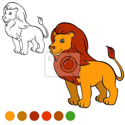 Malvorlage. farbe ich: löwe. nette schöne löwen steht und sm ...
