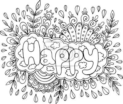 Fototapete Malvorlage Für Erwachsene Mit Mandala Und Happy Word Gekritzel Beschriftungstinten Entwurfsgrafik