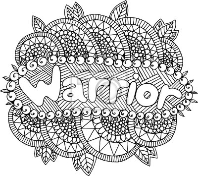 Malvorlage Für Erwachsene Mit Mandala Und Kriegerwort Gekritzel