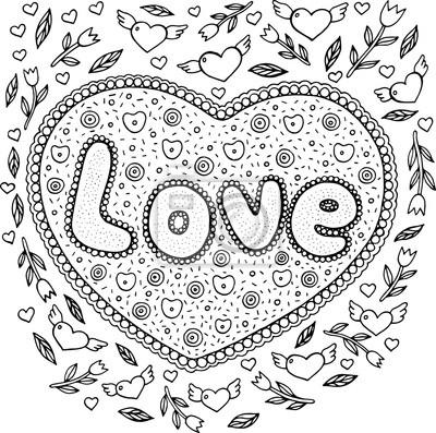 Malvorlage Für Erwachsene Mit Mandala Und Liebeswort Gekritzel