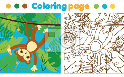 Fototapete Malvorlage Für Kinder Affe Im Dschungel Zeichnung Kinder Aktivität