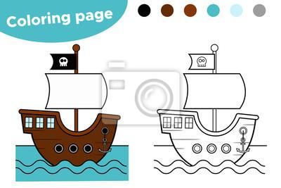 Malvorlage Für Kinder Piraten Cartoon Schiff Vektor Illustration