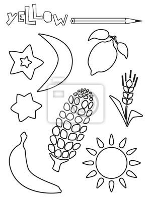 Malvorlage Gelbe Sachen Einzelfarben Arbeitsblatter Sonne