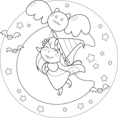 Fototapete Malvorlage Halloween fliegende Hexe mit Ballon in der moolight
