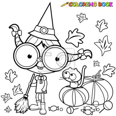 Malvorlage halloween hexe kehrt kürbis verlässt. fototapete ...