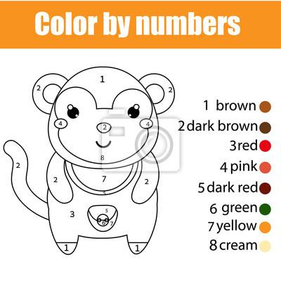 Malvorlage mit affen. farbe durch zahlen pädagogische kinder ...